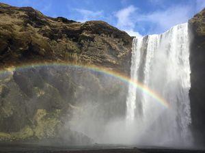 Stunning rainbow captured in waterfall