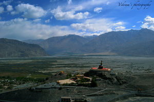 A birds eye view of the beautiful Nubra Valley, overlooking the beautiful Maitreya buddha statue .
