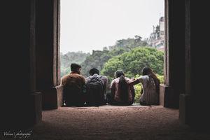 Just a bunch of friends hanging out at Hauz Khaz fort . New Delhi .