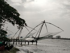 "Chinese Fishing Net also known as ""Cheena Vala"" is a common sight in the backwaters of Fort Kochi"