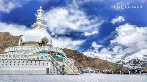 Panoramic view of white coloured Shanti Stupa spreading the message of peace.