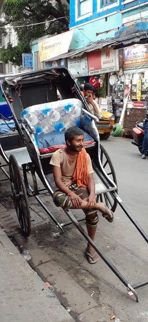 Calcutta's hand-pulled rickshaws