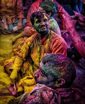 THREE HAPPY SOUL COLOURED IN BARSANA.(clicker+poser+me) @tripotocommunity #besttravelpictures