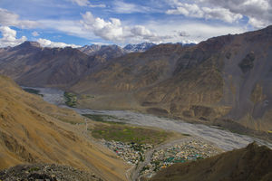 The aerial view of Kaza City with the backdrop of the Himalayas #BestTravelPictures