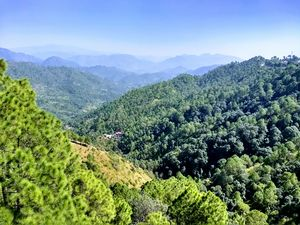 Himachal range of picturesque Himalayas covered with green.