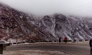 Mountains hugged by fog & snow ????. 12k ft above sea level. #BestTravelPictures @tripotocommunity