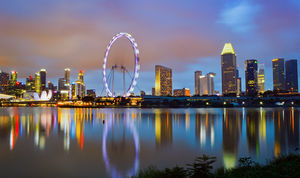 Reflection of Singapore's skyline from the East Coast Park. #BestTravelPictures
