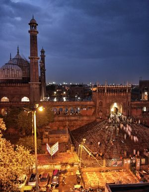 A long exposure shot of Jama Masjid after the Maghrib (evening) prayers