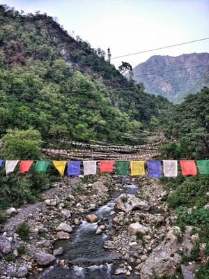 Buddhist prayer flags as seen at Sahastradhara, the 1000-fold spring originating in Uttarakhand