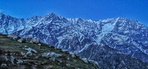 No blue filter! Sheer beauty of the Dhauladhar range at late dawn, evening 7:00 pm IST.. #colourblue