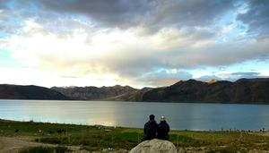 Overlooking beautiful pangong lake with my love. #tripotocommunity