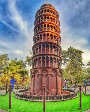 Replica of Leaning tower of Pisa at Waste to Wonder, Delhi