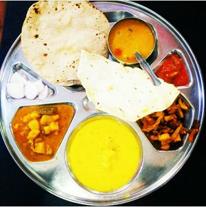 The Tasty, Colourful, simple our own Indian Thali, in Gaya #streetfoodpics #IWillGoAnywhereForFood
