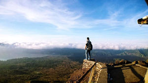 The best view comes from the top. Trekked to the peak of an active volcano Mt. Batur, Indonesia