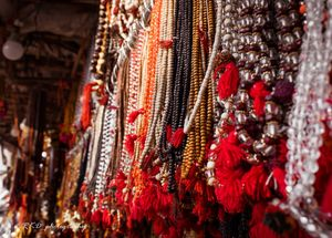 A colourful dispaly of different types of Mala (string of beads) from the market of Pushkar Mela