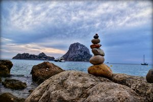 Wishing stones at cala d'hort, Spain @tripotocommunity