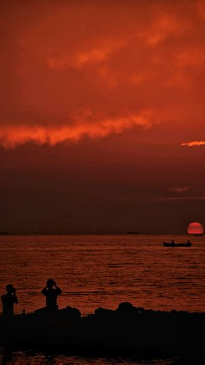 The sun had painted the sky saffron just before the end of its working hours and the exhibition was