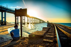 Made this picture during a road trip to rameshwaram. Here you can see the both road and rail bridge.
