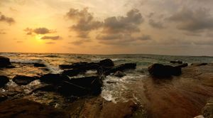 A calm mind enjoying the salty air at a soothing sunset