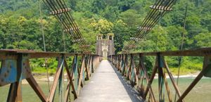 120 years old suspention bridge over river kosi in Corbett  #tripotocontest #tripototakemetogoa