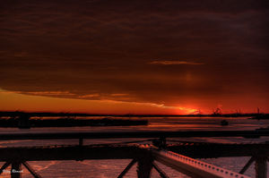 Crimson red HDR sunset overlooking the Statue of Liberty @tripotocommunity #tripotocommunity