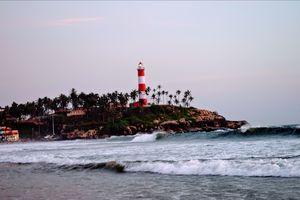 Pre & Post sunset view of the lighthouse beach Trivandrum, Kerala