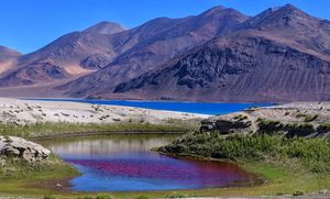 Pangong from a view..redness in water, is due to an algae present on the shores. beautiful isn't....
