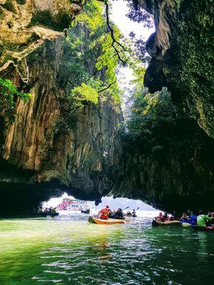 Kanoing in the mesmerizing caves of Hong Island, Phang-nga bay, Phuket.