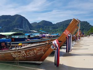 Phi Phi Islands, long tail boats that take you around the island. Cute yet beautiful!
