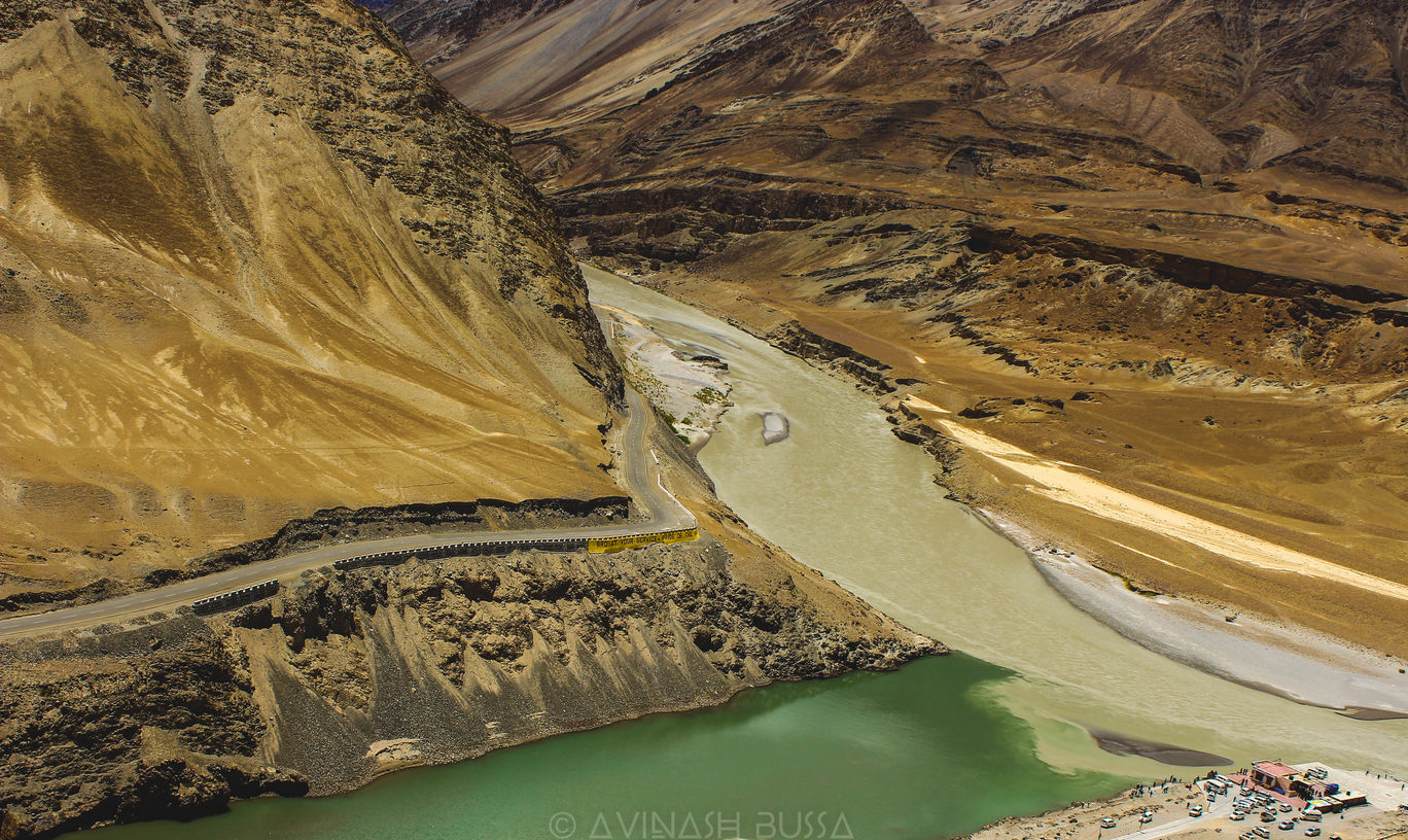 Photo of Confluence of Indus(right)and Zanskar(left) By Avinash Bussa