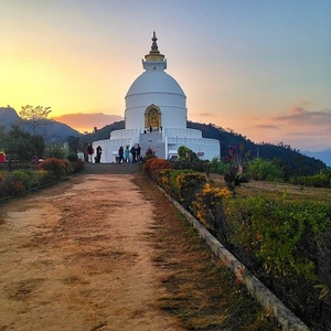 Sunset at the World Peace Pagoda: Pokhara, Nepal