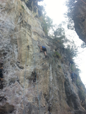 Rock climbing on Railay Beach, Krabi
