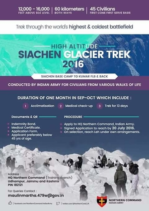 Indian Army is Taking 45 Civilians To The Siachen Glacier. You Can Be One Of Them!