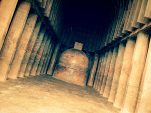 Checking out Buddhist caves near Lonavla