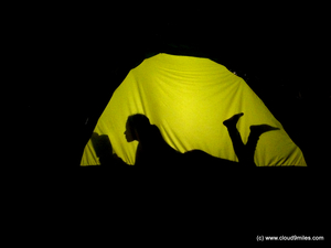 Camping at Khopoli with a big red tent