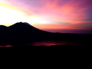 Hiking an active volcano (Mt. Batur), Indonesia