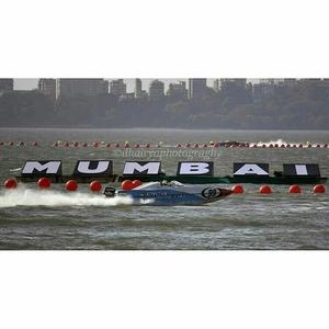 Speed boat racing at Marine Drive in Mumbai