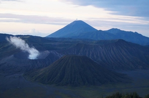 Hiking the active volcano, Mt. Bromos