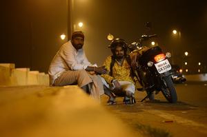 Goa - Oblivious boy amidst new year celebrations