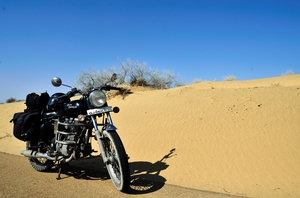 Thar desert on a motorcycle