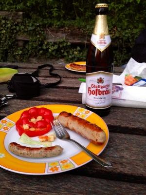Wursts, Bier, Frühlingsfest in Stuttgart, Germany