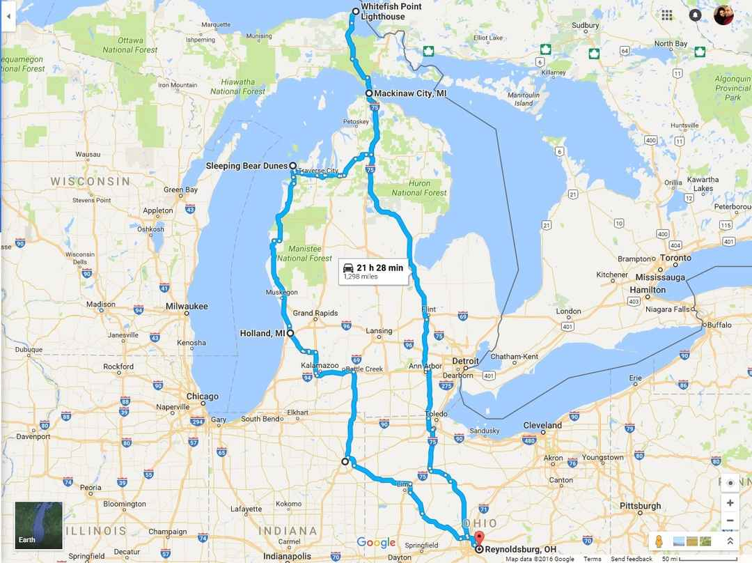 Michigan Travel Map on